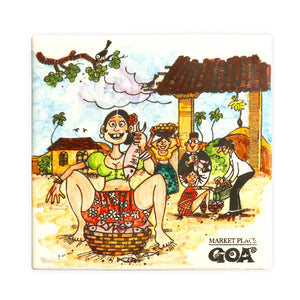 The Market Place Goa Tile Painting | Goan Hand Painted Ceramic Tile