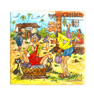 Fish Market Goa Tile Painting | Goan Hand Painted Ceramic Tile