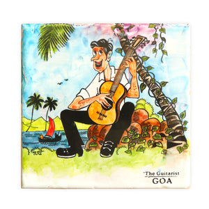 The Guitarist Tile Painting | Goan Hand Painted Ceramic Tile