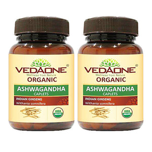 USDA approved Organic Ashwagandha Caplets (Pack of 2)