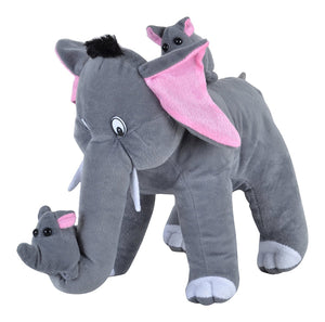 Mother Elephant with 2 Babies Soft Toy