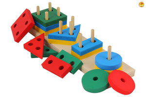 Wooden Geometric Shape Sorter Puzzle for Interactive Learning of Kids