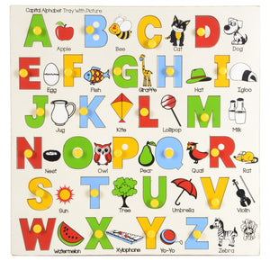 Wooden Capital Alphabet Tray with Picture with Knobs (Multi Color)