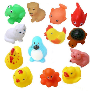 Non-Toxic Soft Chu Chu Animal Bath Toys (Set of 12)