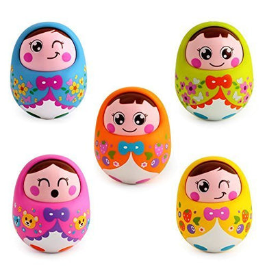 Kids Push and Shake Wobbling Roly Poly Tumbler Doll with Soft and Sweet Bell Sounds (Multi Color)