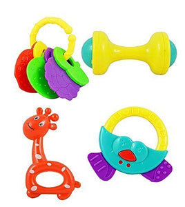 Non Toxic Baby Toys Rattle Set of 4 Pieces For Infants And Toddlers (Multi Color)