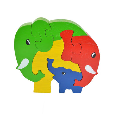 Elephant Family Puzzle - Wooden Toys for Babies