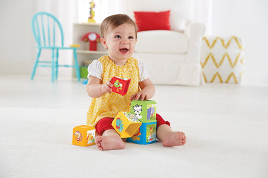 Multicolor Stack and Explore Blocks for Interactive Learning of Babies