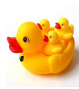 Colorful Soft Duck Family Toys | 4 Set Yellow Rubber Ducklings