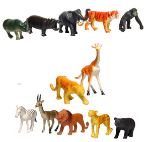 Interactive Learning Wild Animals Rubber Set (12Pcs, Medium)