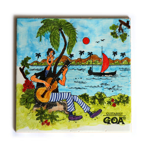 The Guitarist | Goan Hand Painted Ceramic Tile