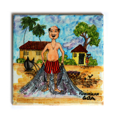 The Fisherman Goa | Goan Hand Painted Ceramic Tile