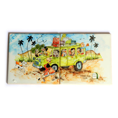 The Village Bus Goa Tile Painting | Goan Hand Painted Ceramic Tiles (Combo of 2)
