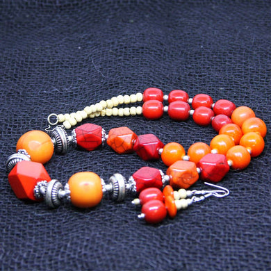 Orange long tribal necklace