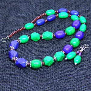 Blue long tribal necklace