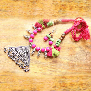 Tribal Pink Tassel Necklace