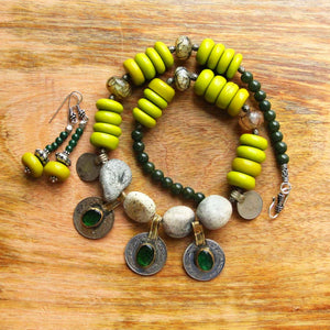 Green afghan necklace