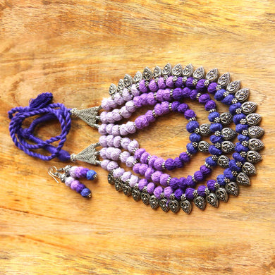 Purple thread bead necklace