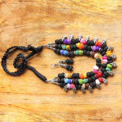 Black thread bead necklace