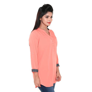 Women Viscose V Neck 3/4 Sleeve Short Kurti/ Casual Kurta Top (Orange)