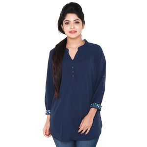 Women Navy Blue V Neck Casual Party Wear 3/4th Sleeve Short Kurti Top