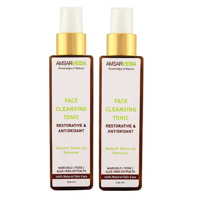 Natural Face Cleansing Tonic with Marigold, Rose and Aloe Vera extracts (Pack of 2)