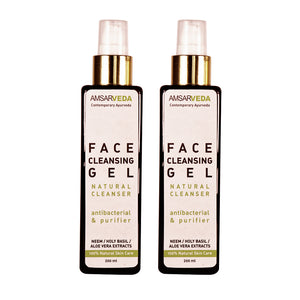 100% Natural Antibacterial Face Cleansing Gel with Neem and Tulsi (Pack of 2)