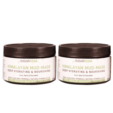 Deep Hydrating & Nourishing Himalayan Mud - Mask, 100% Natural Ayurvedic Skin Care Mask (Pack of 2)
