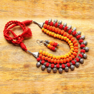 Thread beads multi layered sun necklace