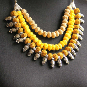 Mustard thread necklace