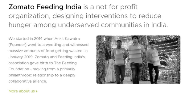 Regarding the donation to the NGO, Zomato Feeding India - Devoted wear