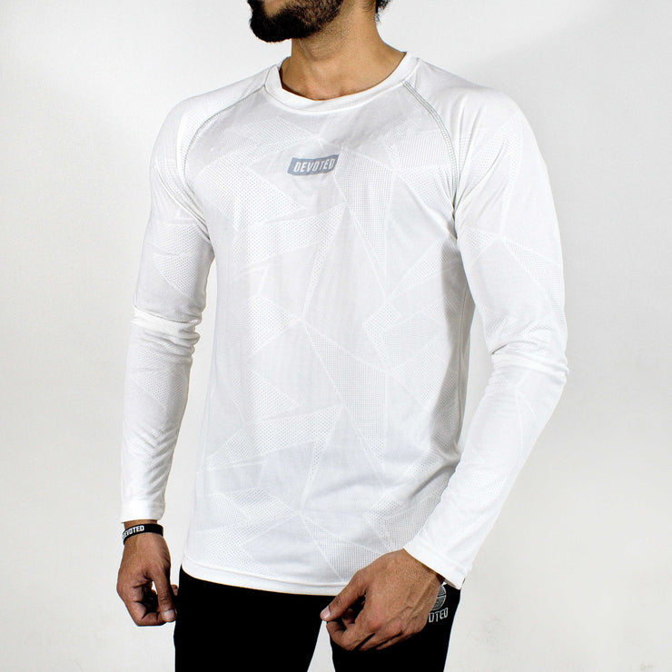 Dri-Stretch Pro Full Sleeves T-shirt - Prime White - Devoted Gym Wear & Sports Clothing - Front Side