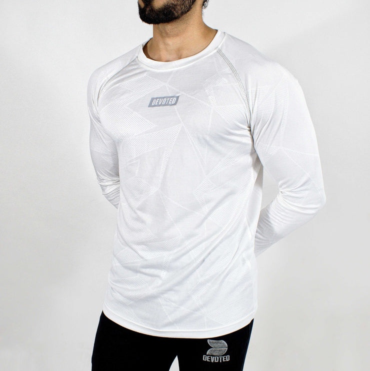 Dri-Stretch Pro Full Sleeves T-shirt - Prime White - Devoted Gym Wear & Sports Clothing - Front