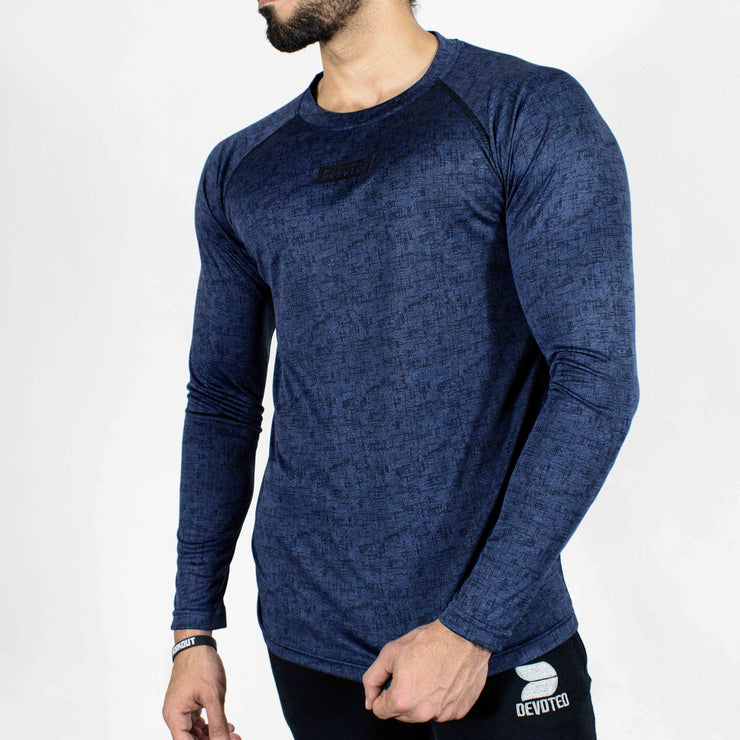 Dri-Stretch Pro Full Sleeves T-shirt - Denim Blue - Devoted Gym Wear & Sports Clothing - Front