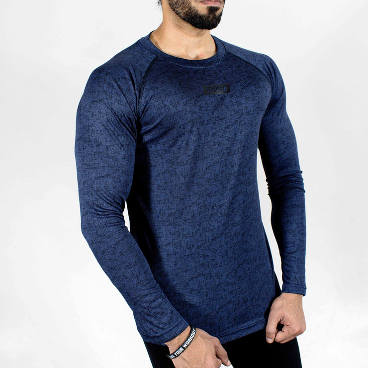 Dri-Stretch Pro Full Sleeves T-shirt - Denim Blue - Devoted Gym Wear & Sports Clothing - Front Side