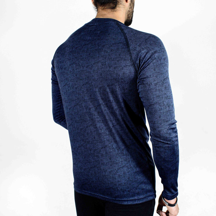 Dri-Stretch Pro Full Sleeves T-shirt - Denim Blue - Devoted Gym Wear & Sports Clothing - Back