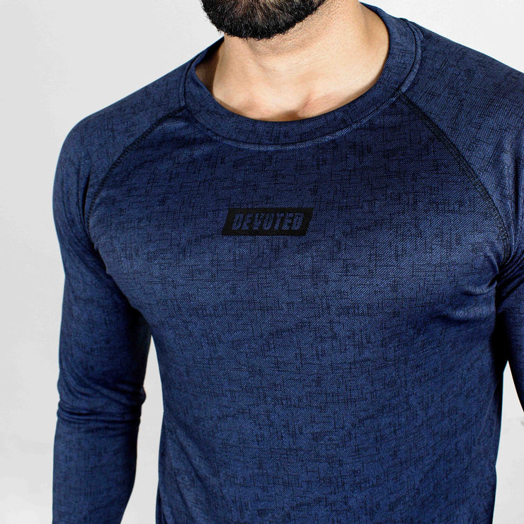 Dri-Stretch Pro Full Sleeves T-shirt - Denim Blue - Devoted Gym Wear & Sports Clothing - Close up