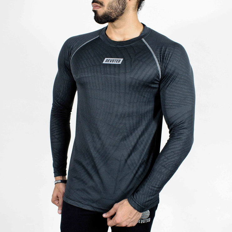 Dri-Stretch Pro Full Sleeves T-shirt - Charcoal web - Devoted Gym Wear & Sports Clothing - Front side