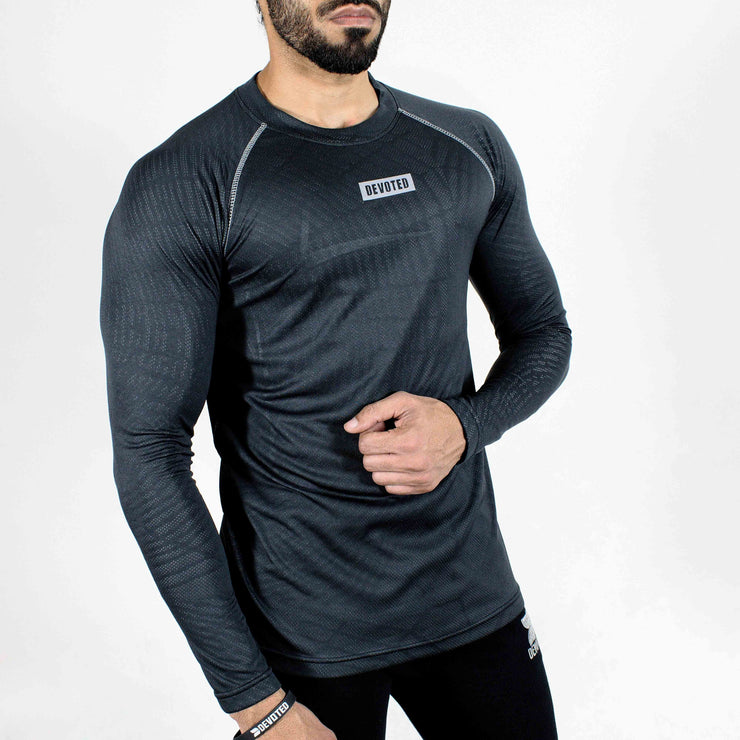 Dri-Stretch Pro Full Sleeves T-shirt - Charcoal web - Devoted Gym Wear & Sports Clothing - Side