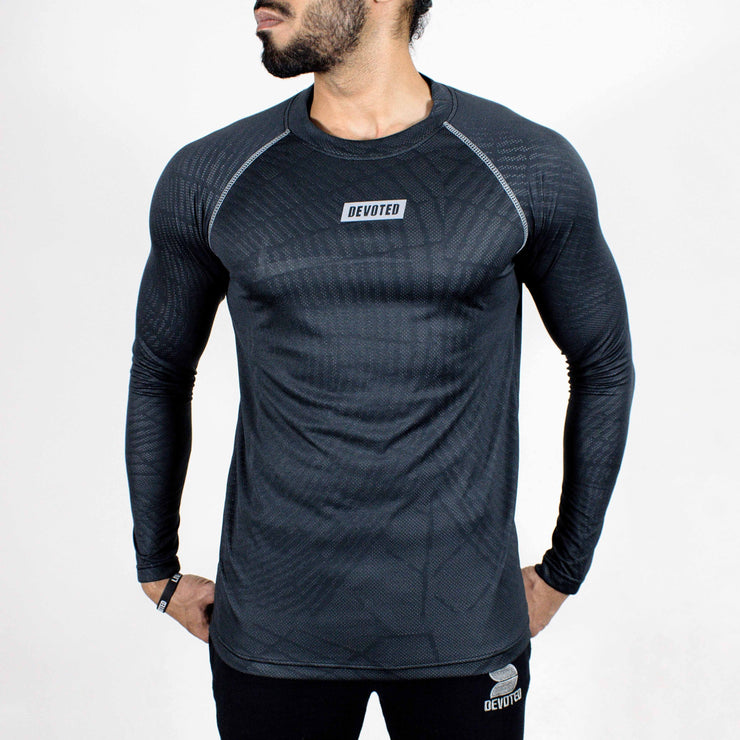Dri-Stretch Pro Full Sleeves T-shirt - Charcoal web - Devoted Gym Wear & Sports Clothing - Front