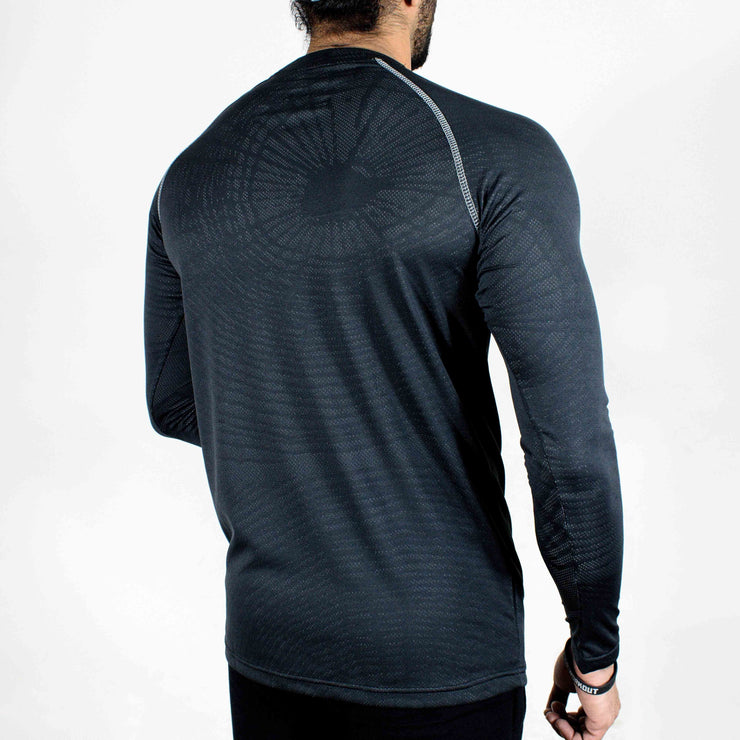 Dri-Stretch Pro Full Sleeves T-shirt - Charcoal web - Devoted Gym Wear & Sports Clothing - Back