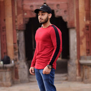 Allure Full Sleeves T-shirt Wine Red - Gym Wear - Devoted Wear | Sports Wear - Outdoor shoot