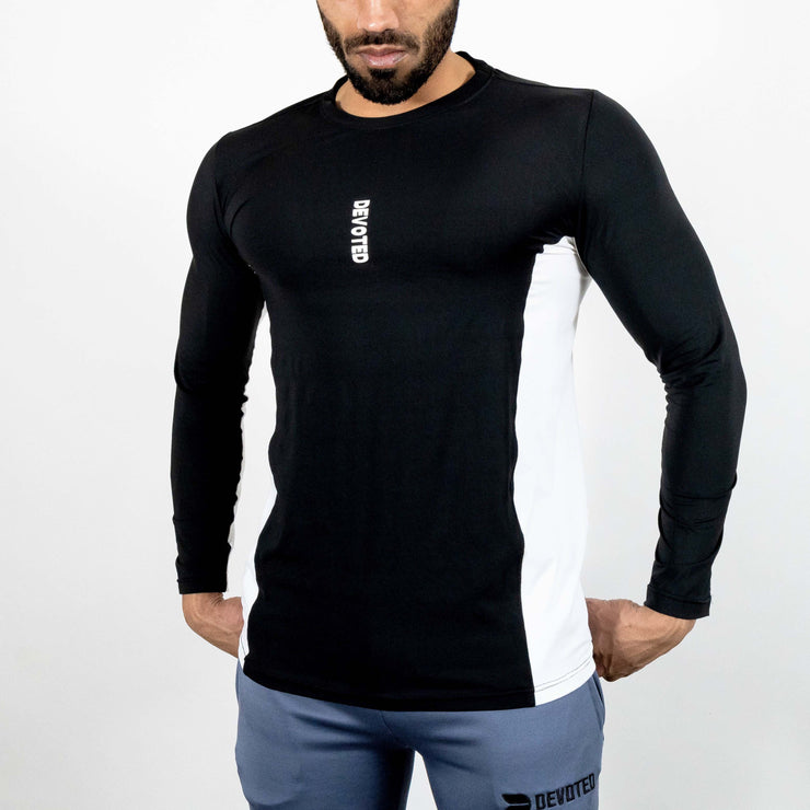 Devoted Dri-Stretch Pro Full Sleeves T-shirt - Black & White Split Design - Gym wear & Sports clothing - Front