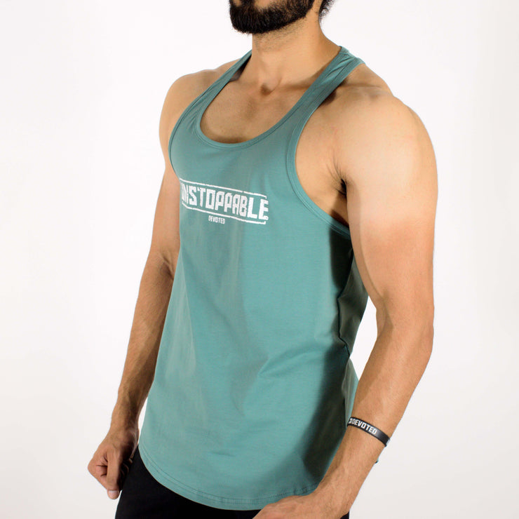 Allure Gym Stringer (Gym Sando/Vest) - Gym Wear - Sea Green - Devoted Wear | India | SportsWear - Apple/U cut at bottom - Side