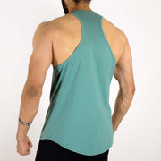 Allure Gym Stringer (Gym Sando/Vest) - Gym Wear - Sea Green - Devoted Wear | India | SportsWear - Apple/U cut at bottom - Back
