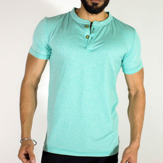 Dri-Stretch Henley Gym T-shirt - Mint Green | Devoted Gym Wear & SportsWear - Front