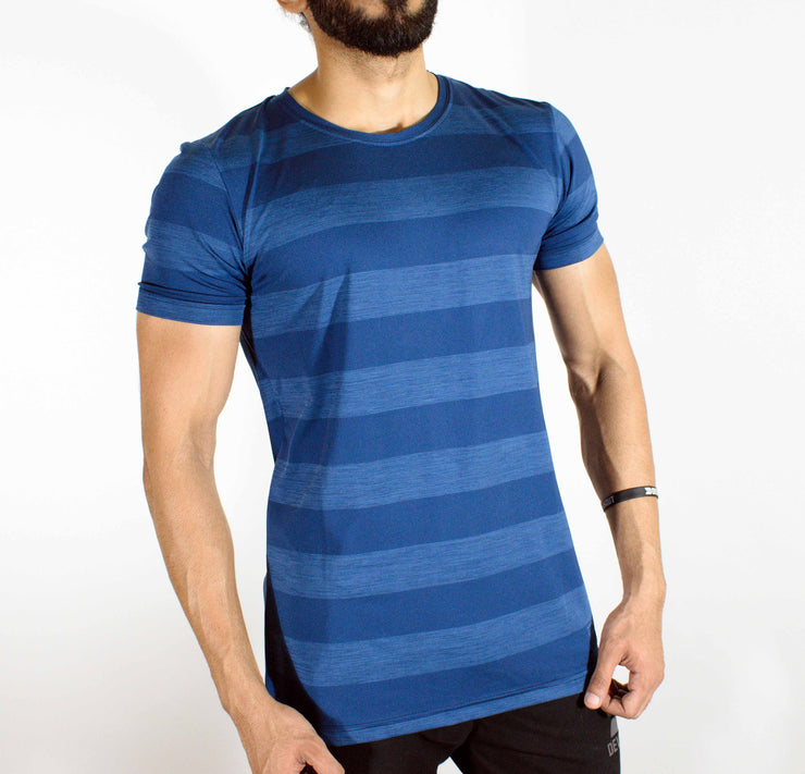 Dri-Stretch Round Neck Gym T-shirt - Navy Blue | Devoted Gym Wear & SportsWear - Side