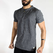 Dri-Stretch Henley Gym T-shirt - Charcoal | Devoted Gym Wear & SportsWear - Other Side