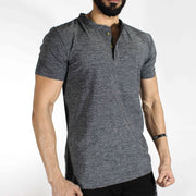 Dri-Stretch Henley Gym T-shirt - Charcoal | Devoted Gym Wear & SportsWear - Side