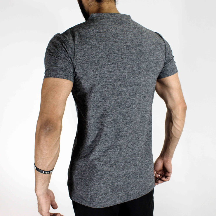 Dri-Stretch Henley Gym T-shirt - Charcoal | Devoted Gym Wear & SportsWear - Back